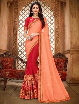 Half and half embroidered saree in peach and red