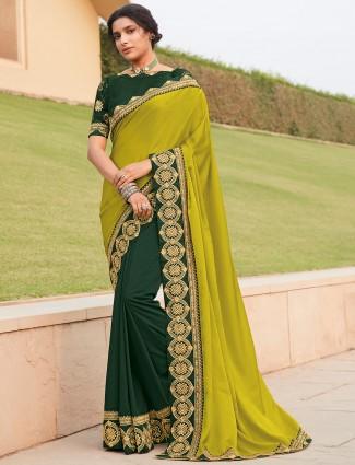Half and half green satin saree for wedding parties