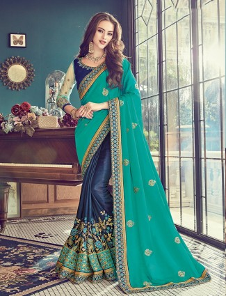 Half and half navy green silk saree