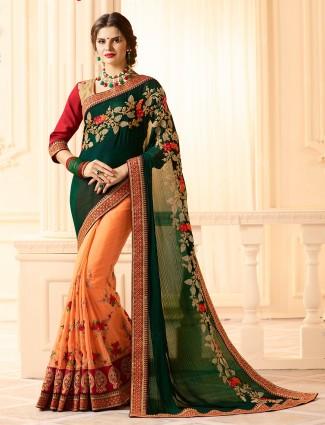 Half and half peach n green saree