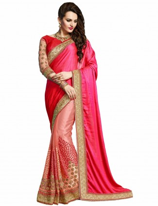Half and half pink crush wedding wear sari