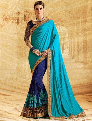Half and half rama blue n blue saree