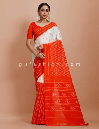 Half and half red and white pure mul cotton printed festive wear saree