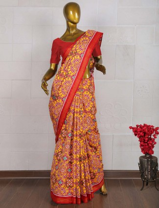 Hand weaved yellow and red color patan patola saree