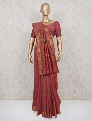 Handloom cotton maroon wedding wear saree