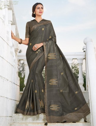 Handloom cotton saree in a grey color