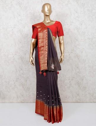 Handloom cotton saree in dark grey color
