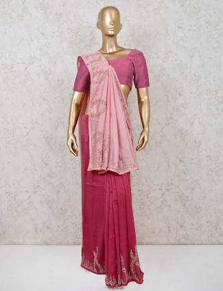 Handloom cotton wedding wear saree in pink
