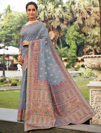 Handloom silk grey colored saree for wedding