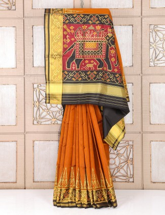 Hyderabadi patola silk orange color saree