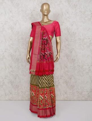Hydrabadi patola silk wedding wear olive and pink saree