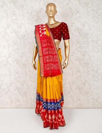 Hydrabadi patola silk wedding yellow saree