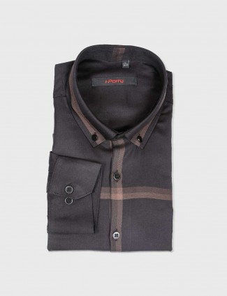 I Party black cotton fabric shirt