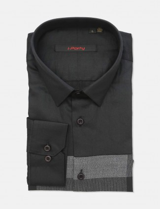 I Party black cotton slim fit shirt
