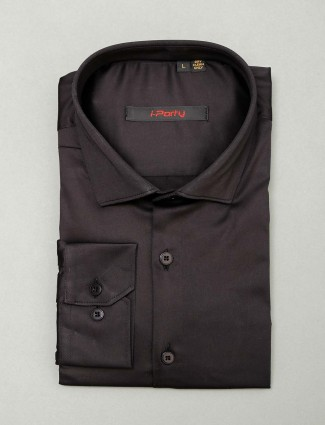 I Party black slim fit cotton shirt