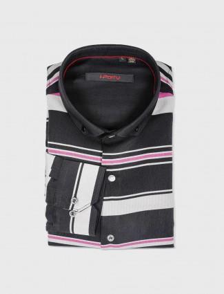 I Party black stripe slim fit shirt