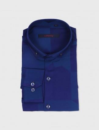 I Party blue printed shirt