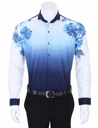 I Party blue shaded printed cotton party wear slim fit shirt