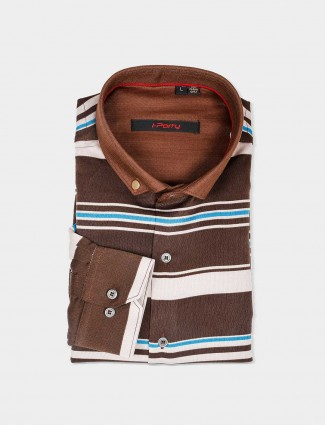 I Party brown slim fit shirt