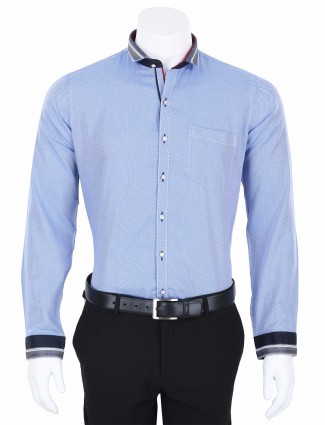 I Party cotton party wear blue and white mens slim fit mens shirt