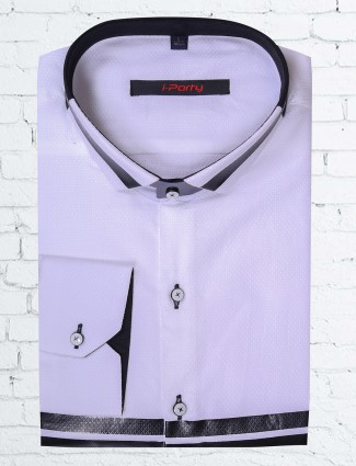 I party cotton party wear shirt in white coolor
