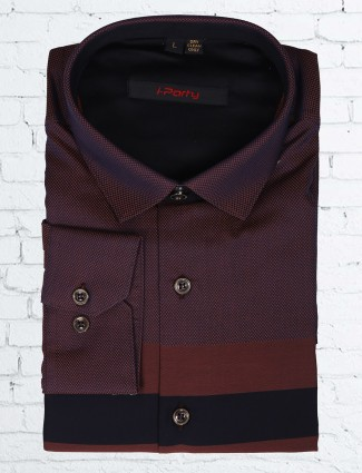 I party cotton slim fit maroon party wear shirt