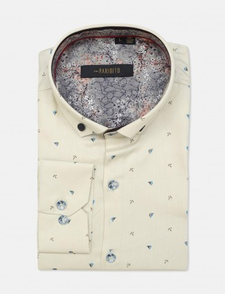 I Party cream cotton printed shirt