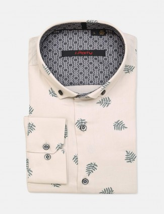 I Party cream mens cotton printed shirt