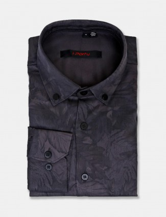 I Party dark grey printed slim fit shirt