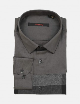 I Party dark grey solid cotton shirt