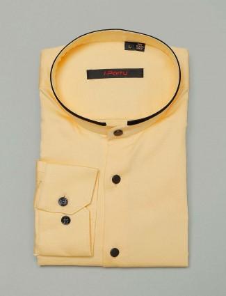 I Party lemon yellow cotton cotton shirt