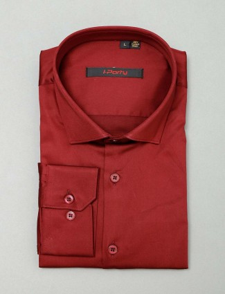 I Party maroon cotton shirt