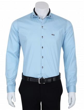 I Party mens party wear blue slim fit plain cotton shirt