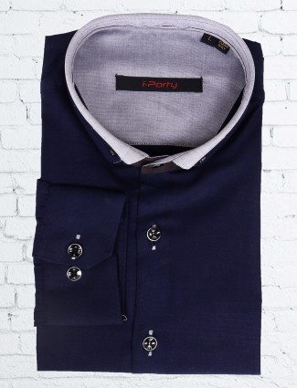 I Party navy color slim fit shirt
