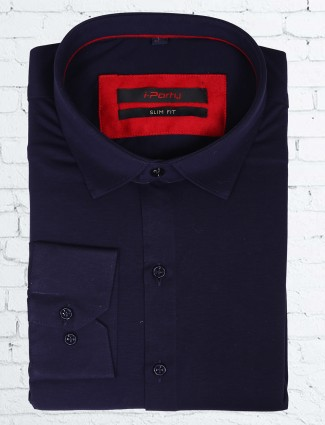 I party navy cotton attractive party wear shirt