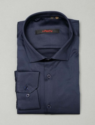 I Party navy cotton cut away collar shirt