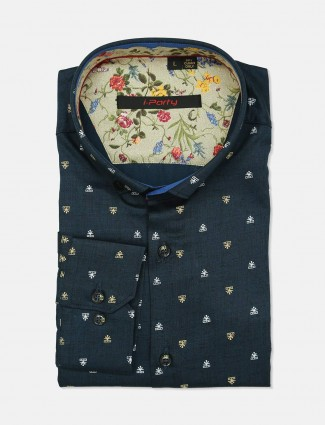 I Party navy cotton printed shirt