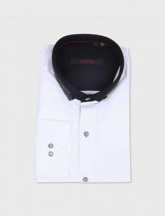 I Party plain white cotton shirt