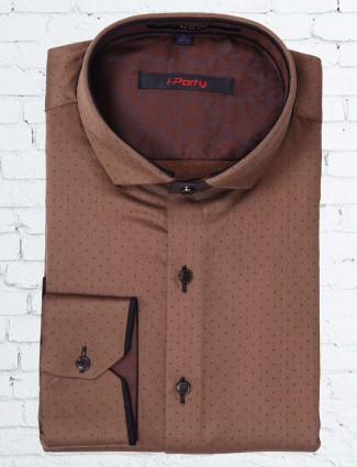 I party printed cotton brown shirt