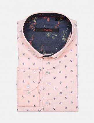 I Party slim fit pink printed mens shirt