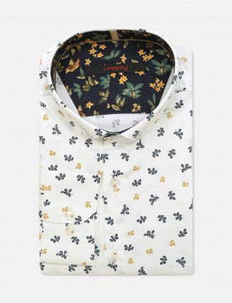 I Party slim fit white printed mens shirt