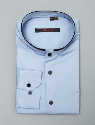 I Party solid blue cotton shirt