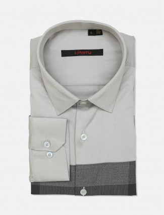 I Party solid grey cut away collar shirt