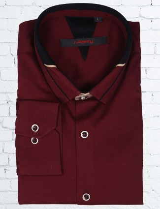 I party solid maroon cotton shirt