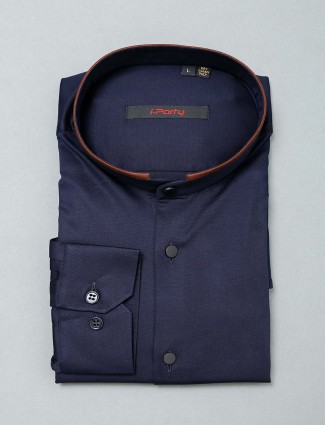 I Party solid navy cotton shirt