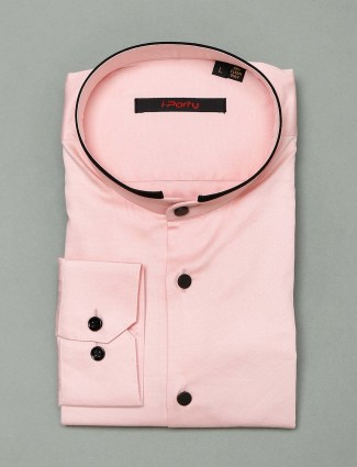 I Party solid pink cotton party shirt
