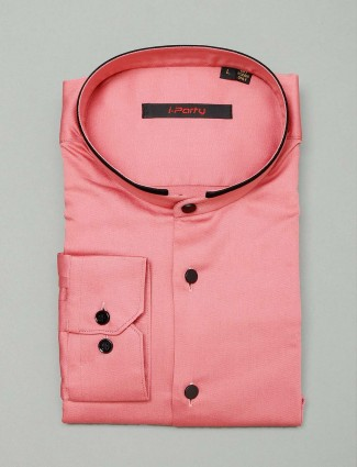 I Party solid pink cotton shirt for mens
