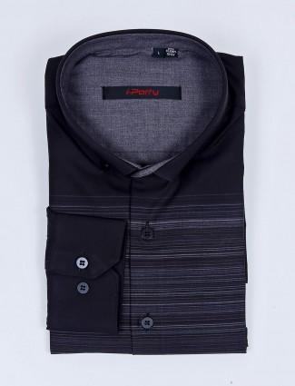 I Party stripe pattern black color cotton shirt