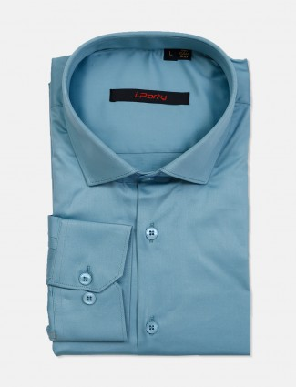 I Party teal green solid party wear shirt