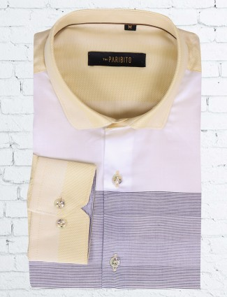 I Party white and yellow slim fit shirt